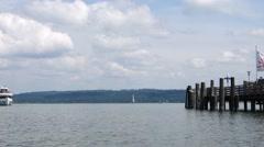 Passenger steamship, ammersee, landing stage diessen, upper bavaria, germany, Stock Footage