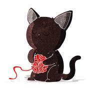 Cartoon cute black cat playing with ball of yarn Stock Illustration