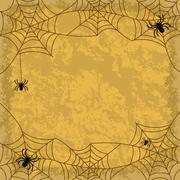 Spiders and cobwebs on wall background - stock illustration