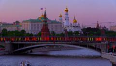 Ships on the Moscow-river near of the Moscow Kremlin. Spring evening. Stock Footage