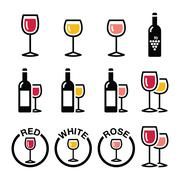 Wine types - red, white, rose icons set - stock illustration