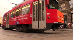 Pedestrians and TRAM at Milan (wide angle) Stock Footage
