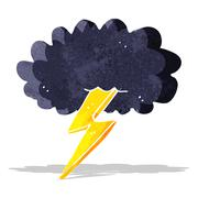 cartoon lightning bolt and cloud - stock illustration