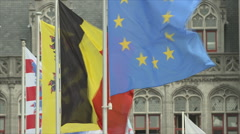 Flags Belgium EU Stock Footage