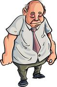 Cartoon overweight man looking very sad Stock Illustration