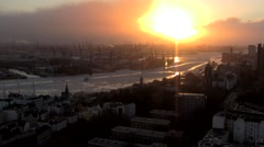 Hamburg Sunset seen from St. Michael's Church 1 Stock Footage