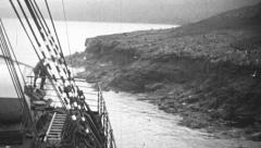 Ship anchored on the shore, 1930s Stock Footage