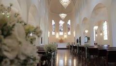 Church aisle decorated for wedding Stock Footage