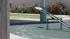 Shirtless Child Pushes Down SeeSaw Stock Footage