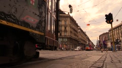 Tram in movement close up Stock Footage