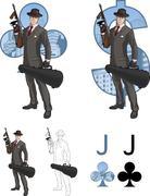Jack of clubs mafioso with Tommy-gun Mafia card set Stock Illustration