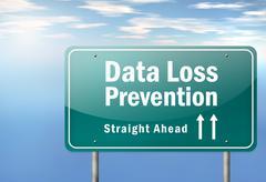 highway signpost data loss prevention - stock illustration