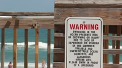 Sign Warning of Riptide with Swimmers in Ocean Background Stock Footage