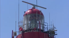 Lighthouse Westerlichttoren, Haamstede, The Netherlands - close up lantern house Stock Footage