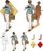Jack of diamonds afroamerican boy with a gun Mafia card set Stock Illustration