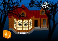 spooky house - stock illustration