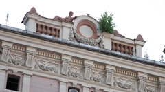 Beautiful abandoned building, architecture, Vienna Secession style, art Stock Footage