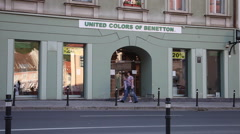 Sales at United Colors of Benetton, shop, shopping, exterior, logo Stock Footage