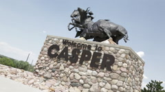 Casper WY - Welcome Statue B Roll 1 Stock Footage