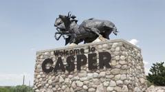 Casper WY - Welcome Statue B Roll 2 Stock Footage