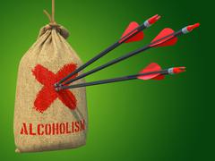 Alcoholism - Arrows Hit in Target. - stock illustration