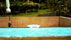 Swimming pool Water. Sunny Summer Vacation Day. Stock Footage