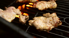 Grilling Chicken Thighs Slowmo Stock Footage