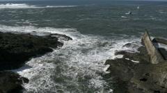 Oregon coast boats approaching  Depot Bay 4k - stock footage
