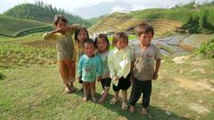 SAPA, VIETNAM - MAY 2014: native Akha kids, Stock Footage