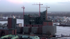 Elbe Philharmonic Hall Hamburg seen from St. Michael's Church 2 - stock footage