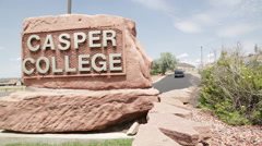 Casper College Sign- Wyoming 1 Stock Footage