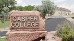 Casper College Sign- Wyoming 2 Stock Footage