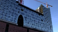 Elbe Philharmonic Hall under construction - stock footage