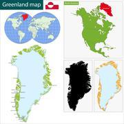 Greenland Map - stock illustration