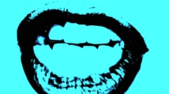 Talking Lips Mouth Close Up Blue Vj Loop - stock footage