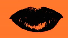 Mouth Lips Black Close Up In Orange Background Seamless Talking VJ Loop - stock footage