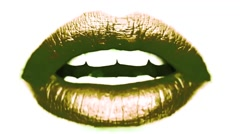 Talking Mouth Lips Close Up Gold Vj Loop - stock footage
