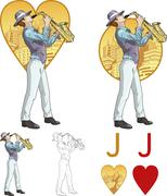 Jack of hearts musician Mafia card set Stock Illustration