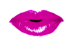 Mouth Purple Lips Close Up White Background Seamless Talking VJ Loop - stock footage