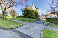 luxury house driveway view - stock photo