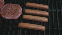 Barbecuing Hot Dogs Stock Footage