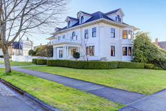 luxury american house with curb appeal - stock photo