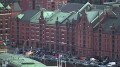 Speicherstadt Hamburg seen from the St. Michael's Church 1 Stock Footage