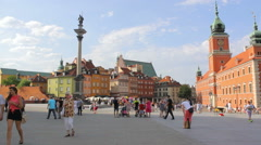 The Royal Castle with Sigismund's Column in Warsaw Stock Footage