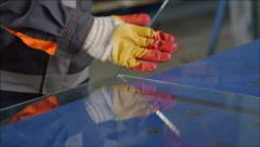 Window glass and insulating glass manufacture - Glass cutting - stock footage