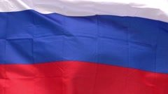 Russian flag in the wind against the sky Stock Footage