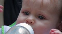 23 Cute baby boy is unhappy, rejects bottle Stock Footage
