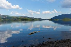 Derwent Water The Lakes Cumbria England uk blue sky sunny summer day Stock Photos