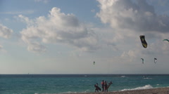 Beautiful landscape with kiteboards action on Lefkada island beach. Stock Footage