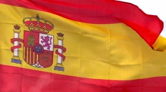 Spanish flag in the wind against the sky Stock Footage